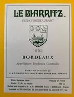 10624 - Bordeaux 1983 Pour Restaurant Le Biarritz (USA) French Restaurant - Bordeaux