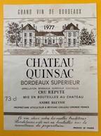 10626  - Château Quinsac 1977 - Bordeaux
