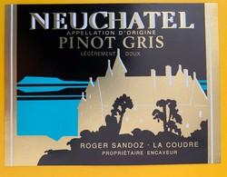 10628  - Neuchâtel Pinot Gris Roger Dandoz La Coudre Suisse - Etiquettes