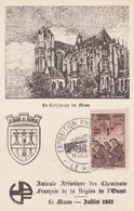 OBLIT. GF ILLUSTRÉE EXPO. PHILATEL. LE MANS - L.R. Du  10.7.43 - Locomotive - Postmark Collection (Covers)