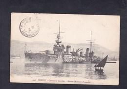 Bateau De Guerre Marine Militaire Francaise VERITE Cuirasse à Tourelles - Guerra