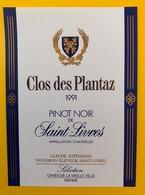 10634  - Clos Des Plantaz 1991 Pinot De Saint-Livres Suisse - Etiquettes