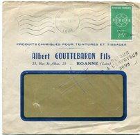 """Griffe """"retour /à L'envoyeur/3099 (Regny (84)) Sur Lettre De Roannes Du 7/12/1959 Oblit Roanne Entrepot (ROA151) - Postmark Collection (Covers)"""