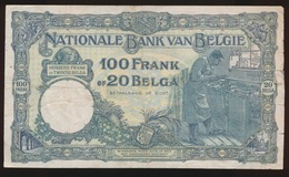 100 FRANCS 20 BELGAS  10.05.32   2 SCANS - [ 2] 1831-... : Royaume De Belgique