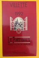 10638  - Villette 1992 Le Portaroux Pinot Noir Daniel Porta Suisse - Etiquettes