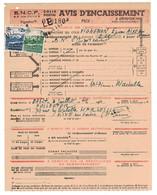 TIMBRE COLIS POSTAL REMBOURSEMENT N° 189 + 190 SUR AVIS D'ENCAISSEMENT DE LA SNCF COLIS POSTAUX AIXE SUR VIENNE - Colis Postaux
