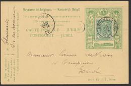"""Fine Barbe - N°56 Dans Porte-timbre Imprimé """"75e Anniv De L'Indépendance Nationale"""" Obl SC Bruxelles (1905) Vers Gand. - 1893-1900 Thin Beard"""