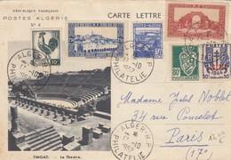 ALGERIE  -  CARTE-LETTRE ALGER 17.10..1952 POUR PARIS - TIMGAD LE THÉÂTRE   /1 - Algerien (1924-1962)