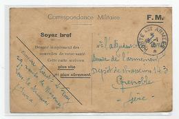 Marcophilie Carte Franchise Militaire Fm Soyez Bref De Lons Le Saunier 39 Jura Pour Depot Chasseurs 1940 - Marcophilie (Lettres)