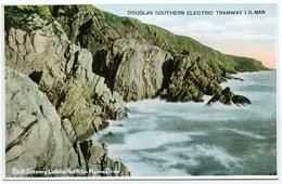 ADVERTISING : ISLE OF MAN : DOUGLAS SOUTHERN ELECTRIC TRAMWAY - ROCK SCENERY LOOKING NORTH ON MARINE DRIVE - Isle Of Man