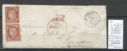France -Lettre De Saint Omer ( Pas De Calais ) Pour Londres- 1851 - Yvert 4 En Paire ( Def) - Postmark Collection (Covers)