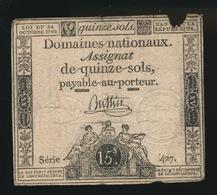 ASSIGNAT 1792     DE QUINZE SOLS - Assignats