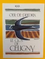 10648  - Oeil De Perdrix 1992 Le Clos De Céligny  Suisse - Etiquettes