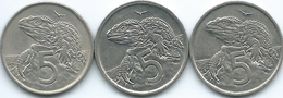 New Zealand - Elizabeth II - 5 Cents - 1967 (KM34.1) 1994 (KM60) & 1999 (KM116) - Nouvelle-Zélande