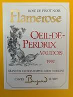 10653  - Flamerose Rosé De Pinot Noir 1992 Suisse - Etiquettes