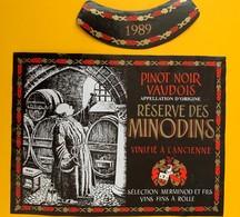 10658 - Pinot Noir Réserve Des Minodins 1989 Suisse - Etiquettes