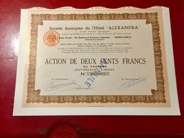 S.A.  De  L' HÔTEL  ' ALEXANDRA ' ------- Action  De  200 Frs - Toerisme