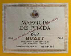 10661 - Marquis De Prada 1989 Buzet - Etiquettes