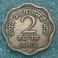 India 2 Naye Paise, 1962 W/o Mintmark - Calcutta -4123 - Inde