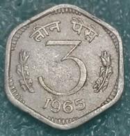 India 3 Paise, 1965 W/o Mintmark - Calcutta -4311 - Inde