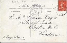 CHARENTE 16-   GARE DE RUFFEC    - CACHET N° 1043  TYPE 84   - 1907 -  INDICE 10 -  TIMBRE N° 135 IIA - TARIF ETRANGER - Railway Post