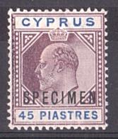 Chypre - 1903 - N° 43 - SPECIMEN - Neuf * - 45pi Edouard VII - Chipre (...-1960)