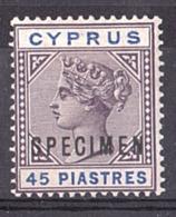 Chypre - 1894/96 - N° 33 - SPECIMEN - Neuf * - 45pi Victoria - Chipre (...-1960)
