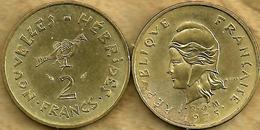 VANUATU NEW HEBRIDES 2 FRANCS ARTEFACT FRONT WOMAN HEAD BACK 1975 IEOM VF KM? READ DESCRIPTION CAREFULLY !!! - Colonies