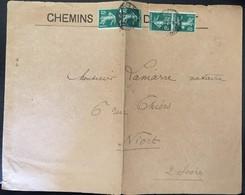 N° 137 5c Vert 2 Paires Sur Lettre - Cachet 12/09/1913 - 1906-38 Semeuse Camée
