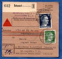 Colis Postal  -  De Schonach - Pour Waldheim Bei Spittel - Duitsland