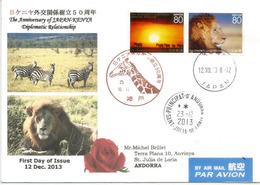 KENYA'JAPON émission Conjointe, Sur Lettre Année 2013,adressée Andorra, Avec Timbre à Date Arrivée - 1989-... Kaiser Akihito (Heisei Era)