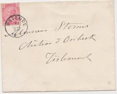 Tienen, Thienen, Tirlemont, Kasteel Oorbeek,enveloppe Van Oostende Voor John Beaufoy Storms, 1884 - Zonder Classificatie
