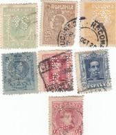 12532-LOTTICINO DI N°. 7 FRANCOBOLLI PERFIN - USATI - ROMANIA E SPAGNA - Spagna