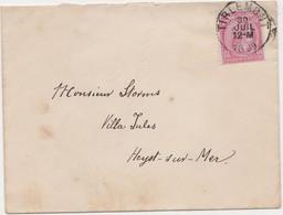 Tienen, Thienen, Tirlemont, Kasteel Oorbeek,enveloppe Van Tienen Naar Heyst Sur Mer Voor John Beaufoy Storms, 1889 - Unclassified