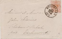 Tienen, Thienen, Tirlemont, Kasteel Oorbeek,enveloppe Brussel  Voor John Beaufoy Storms, 1890 - Unclassified