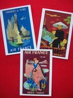 3 CARTOLINE MANIFESTI AIR FRANCE - 1946-....: Modern Era
