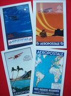 4 CARTOLINE MANIFESTI AEROPOSTALE - 1946-....: Modern Era