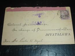 LETTRE Du SRI LANKA - CAMP DE CONCENTRATION A DIYATALAWA LETTRE AVEC CENSURE DATE DE 1901 (AE) - Sri Lanka (Ceylan) (1948-...)