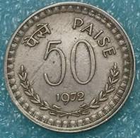 India 50 Paise, 1972 W/o Mintmark - Calcutta -1257 - Inde