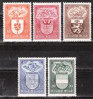 756/60**  Armoiries - Série Complète - MNH** - COB 32 - Vendu à 10% Du COB!!!! - Belgique