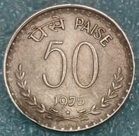 """India 50 Paise, 1975 Mintmark """"*"""" - Hyderabad -4313 - Inde"""