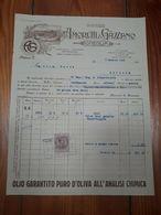 1926 ONEGLIA FATTURA OLEIFICIO AMORETTI E GAZZANO CON MARCA DA BOLLO - Italia