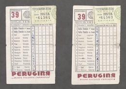 Totocalcio - Lotto 2 Schedine Giocate - Concorso N. 39 - 1951 - Biglietti Della Lotteria