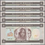 TWN - ERITREA 1 - 1 Nakfa 24.5.1997 DEALERS LOT X 5 - Prefix AG UNC - Eritrea