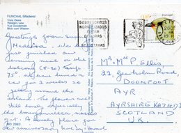 2001 Portugal Postcard Madeira Funchal Posted  To UK Slogan - Storia Postale