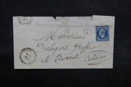 FRANCE - Lettre De Paramé Pour Livarot En 1862 , Affranchissement Napoléon PC 2377 - L 32606 - Marcophilie (Lettres)