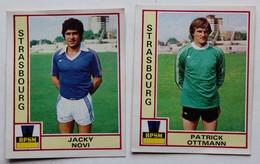 2 Vignette Autocollante Figurine Panini Football 80 équipe De Strasbourg Patrick Ottmann Jacky Novi - Panini