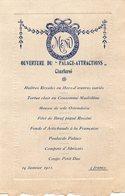 """Charleroi,menu Ouverture Du """"Palace-Attractions"""" 14 Janvier 1911(4 Francs) - Menus"""