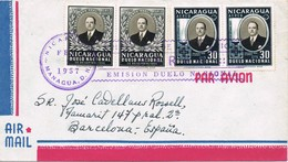 33157. Carta Aerea JINOTEPE (Carazo) Nicaragua 1957.  Emision Duelo Nacional Anastasio Somoza - Nicaragua