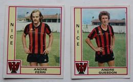 2 Vignette Autocollante Figurine Panini Football 80 équipe De Nice André Guesdon André Ferri - Panini